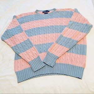 Polo by Ralph Lauren Pink/Blue Cable Sweater - L